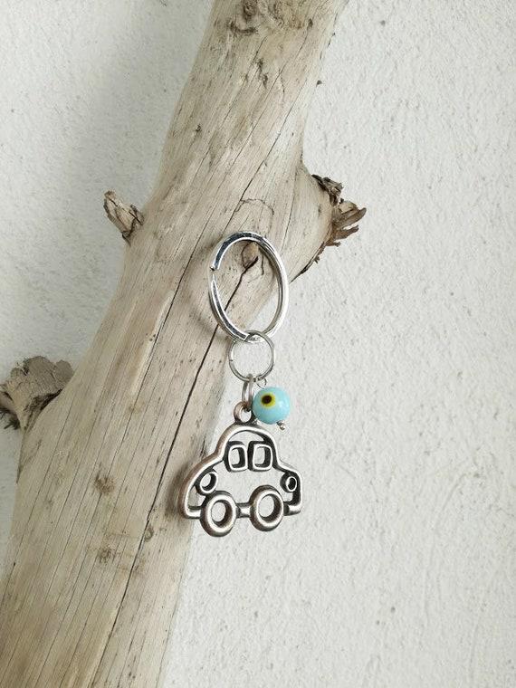 Silver car keychain, alloy car charm with blue eye bead key ring, car key holder with blue eye bead, mens' car key ring, mens accessories