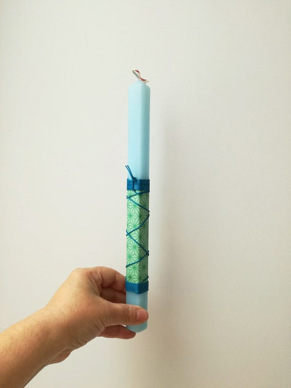 Blue Easter candle with blue cord, square candle in sky blue with printed paper and blue cord, boys, teens and mens Greek Easter candle
