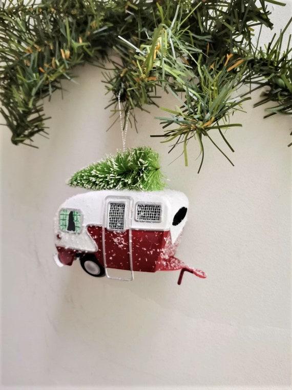 Caravan car ornament, Christmas caravan ornament, vintage metal caravan miniature with xmas tree on top