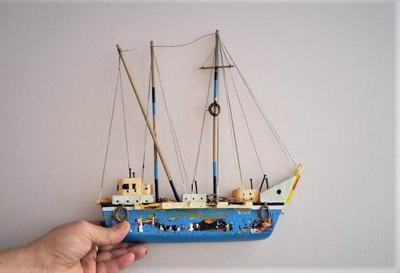 Blue sailboat sculpture, colourful sailboat of wood, metal, twine, etc, completely handmade, unique, wooden sailboat wall hanging