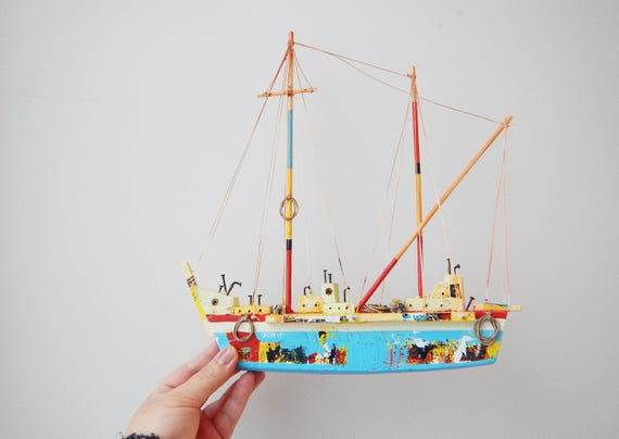 Wooden Greek sailboat, colourful sailboat of wood, metal, twine, etc, completely handmade, unique, blue sailboat, wooden sailboat art object