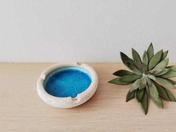 Blue ceramic ashtray, white clay ashtray in round shape, handmade handbuilt Greek ashtray, small blue white pot with cracked glaze