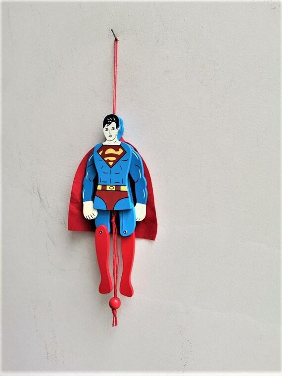Vintage Superman puppet, wooden Superman figure puppet, colourful superman style marionette, superman style wooden puppet toy