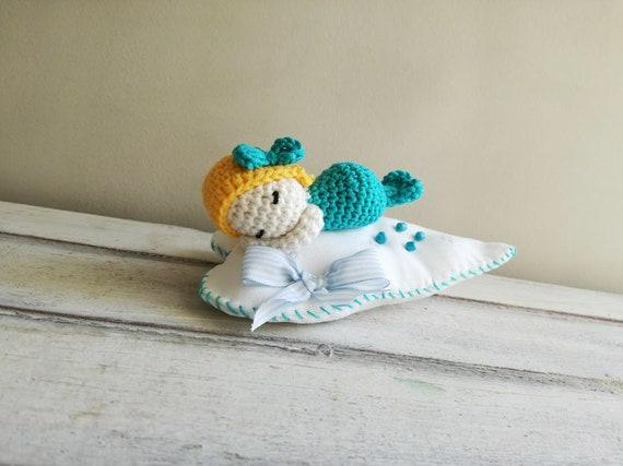Crochet blue mermaid, crochet mermaid baby on heart pillow, sleeping mermaid pincushion pillow in white blue yellow, unique crochet mermaid