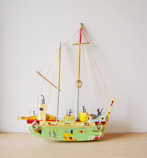 Wooden Greek sailboat, colourful sailboat of wood, metal, twine, etc, completely handmade and unique, boho rustic sailboat, folk art boat