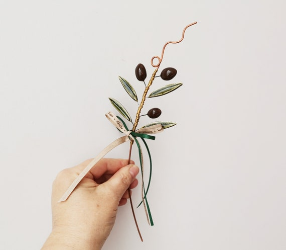 Olive branch sculpture, decorative olive branch of clay and copper, ceramic olive branch with black olives and green leaves