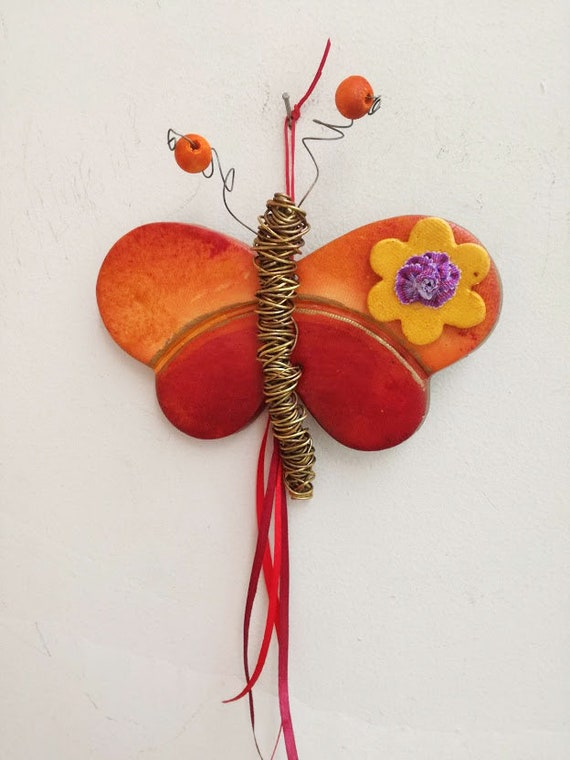 Ceramic butterfly wall hanging, red orange butterfly with brass wire body and antennae, rustic boho hippie butterfly with flower bead