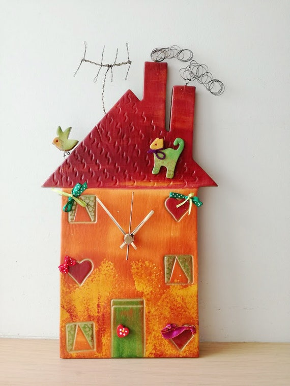 Red house clock, colourful ceramic house clock, house shaped wall clock on wooden base, three storey house clock with antenna and wire smoke