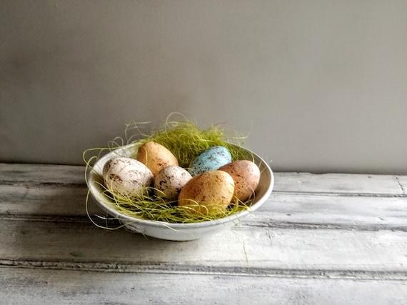 Ivory Easter egg, solid ceramic Easter egg, creamy beige, splotched egg, Easter decor egg, small Easter egg, Greek Easter egg, natural egg