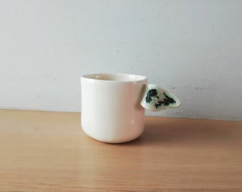 White coffee cup, angel wing coffee cup, coffee mug of earthenware clay, handbuilt, quirky coffee cup, tea cup, Greek pottery coffee cup
