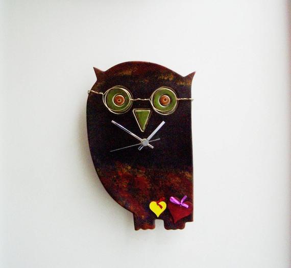 Black owl clock, ceramic wall clock of owl with black head and dark coloured body, ceramic owl clock,black owl clock,  boho rustic clock