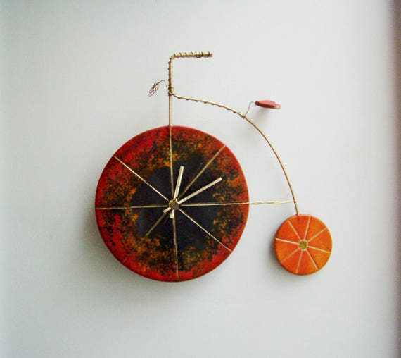 Black bike clock, ceramic wall clock of  penny farthing bicycle, black and orange, retro bicycle clock, rustic boho bicycle, wall clock