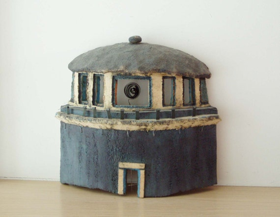 Ceramic lighthouse sculpture, stoneware clay high fire sculpture of a blue black and white lighthouse