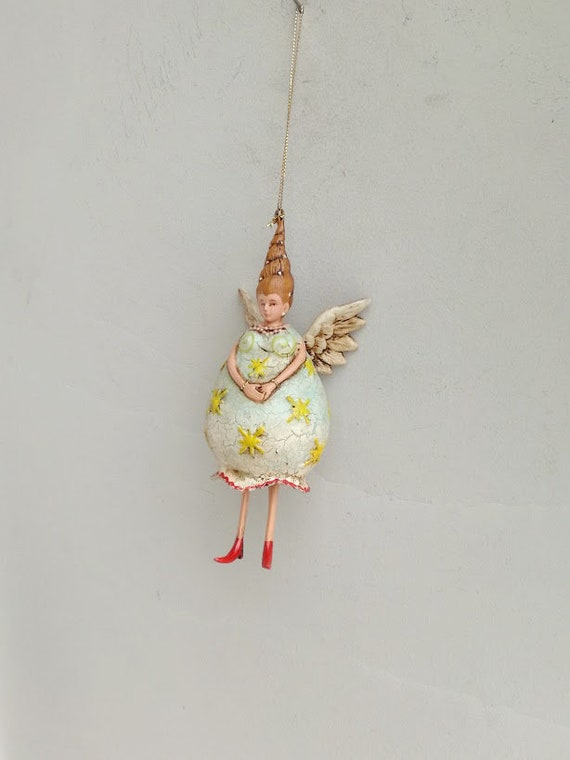 Angel lady figurine, quirky quaint angel woman in bell shaped dress and cone shaped hair, fairy tale angel ornament, Xmas tree angel decor