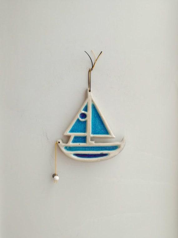 Blue sailing boat, earthenware, cracked glaze sailingboat wall hanging, handmade handbuilt, blue boat art object, Greek blue boat decor