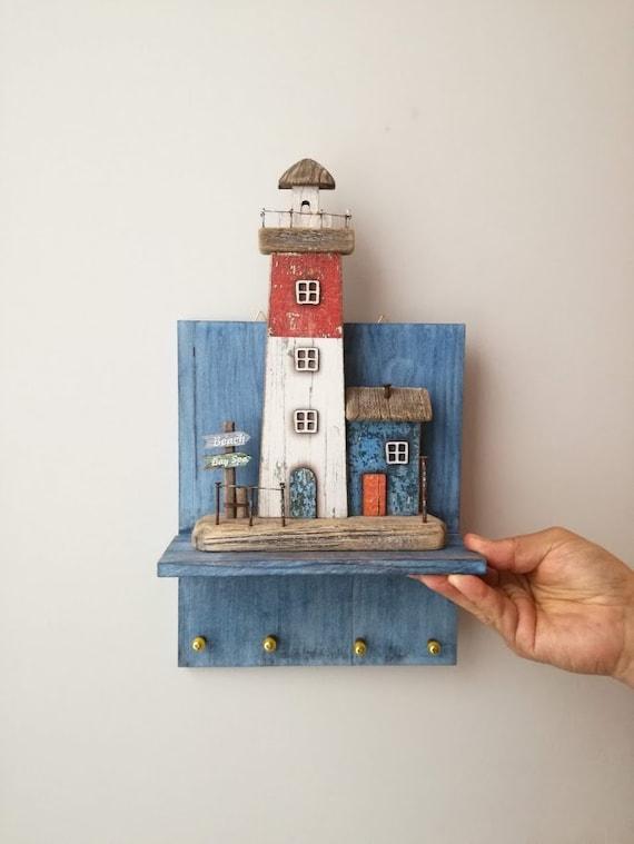 Lighthouse key organiser, wooden shelf for lighthouse miniature, wooden key holder for decorative lighthouse, beach house decor