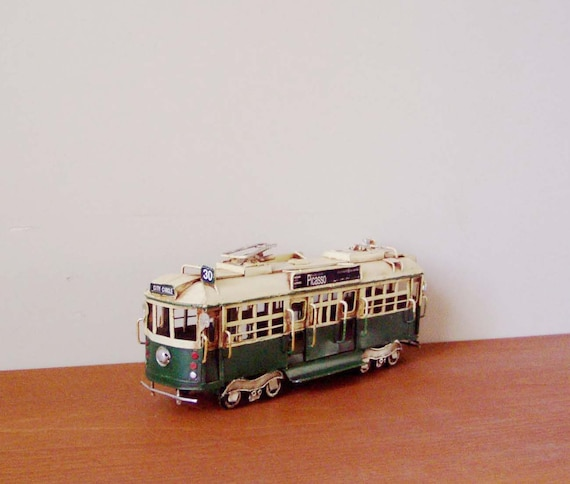 Cable car miniature, vintage, cable car replica, white and green San Francisco trolley, collectible tin miniature, mid nineties