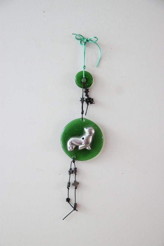 Silver seal charm, aluminum seal on green glass wall hanging, vintage seal decorative charm, quirky seal wall hanging with glass and beads