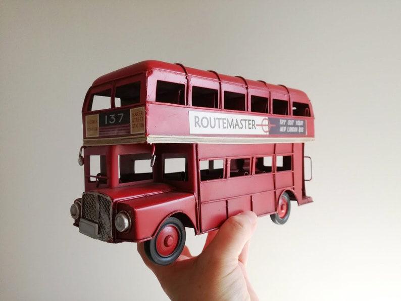 London Double Decker Bus Metal Ornament Model Sculpture Replica Decoration