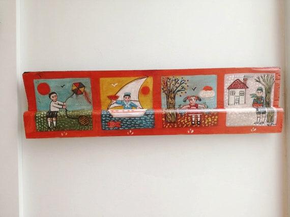 Four seasons painting, folk art painting of the four seasons, vintage, Greek folk art on salvaged wood, children in four seasons themes