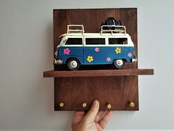 Hippie van key holder, blue hippie van miniature on wooden shelf with key hangers, key rack/organiser with blue hippie van miniature