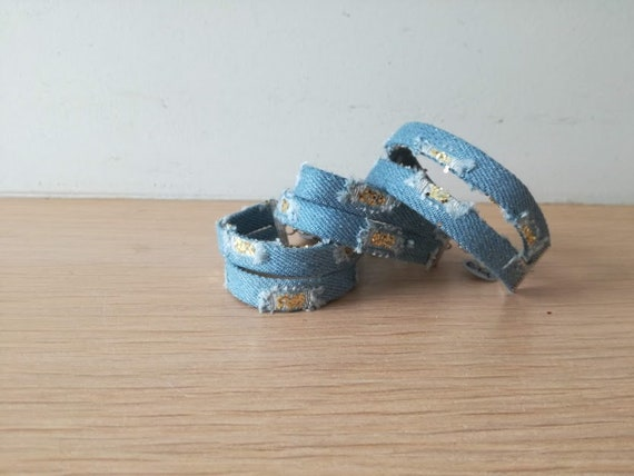 Double denim cuff with sequins, faded blue denim gold sequins bracelet, wide blue jean cuff with faded pockets and gold sequins, boho cuff