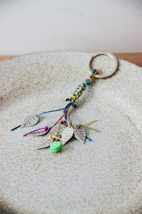 Tree leaves key ring, macrame colourful cords key chain with silver colour, alloy leaves, long boho key chain, boho fall accessories