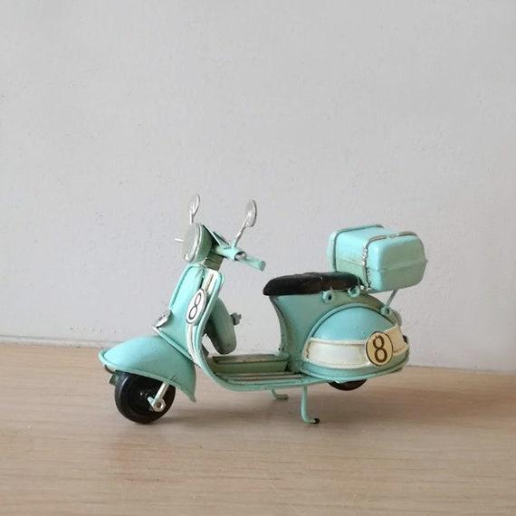 Tiny scooter miniature, metal scooter miniature in sky blue retro collectible bike, decorative mini Italian scooter, Italian bike gift