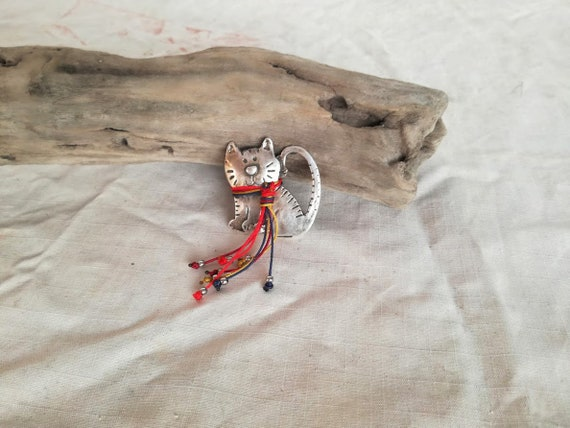 Silver cat brooch, smiling cat brooch of silver plated brass, handmade boho hippie, kitty brooch with colourful threads scarf, accent jewels