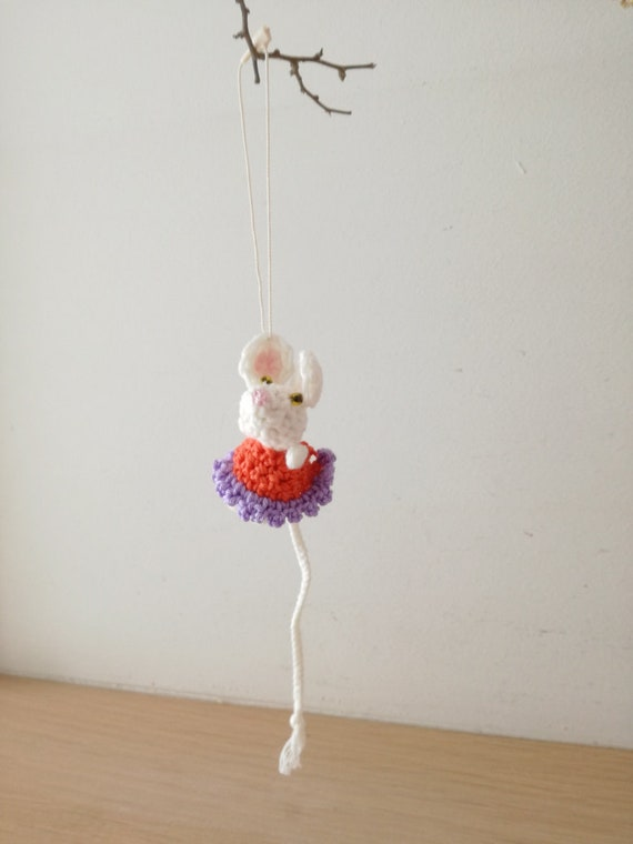 Mousey crochet toy, amigurumi girl mouse, cute crochet mouse with purple orange dress, crochet animals collection, mouse miniature toy