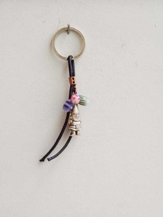 Gnome metal keychain, alloy gmome miniature on thick black cord with colourful, glass beads, woods creature key chain