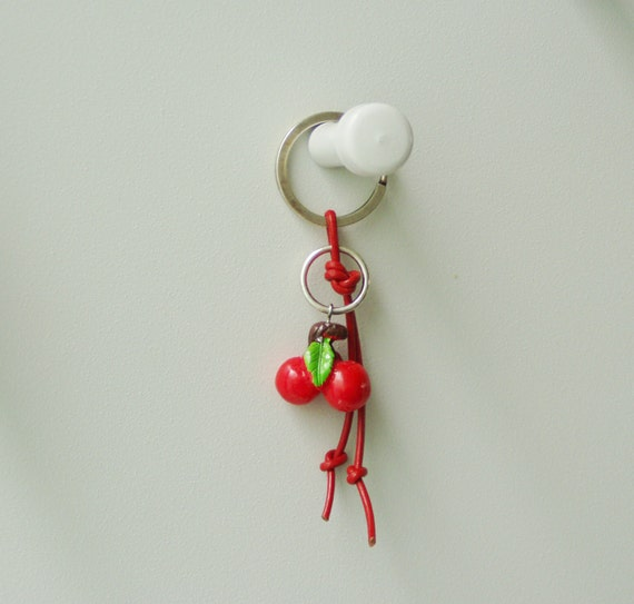 plastic red and green keychain for girls and women red cherries bead on red leather Cherries keychain summer keyring