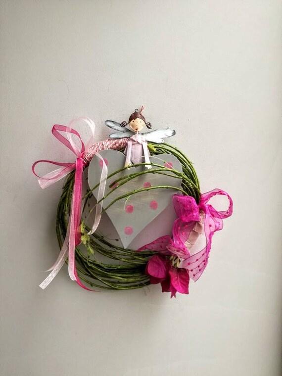 Pink angel wreath, pink fairy wreath, grey wooden heart wreath, fuchsia ribbons wreath, pink grey green wreath, rustic decor wreath