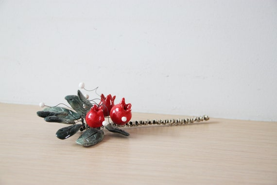 Pomegranates twig, ceramic pomegranate bouquet, miniature pomegranatesand leaves bouquet with wire and clay