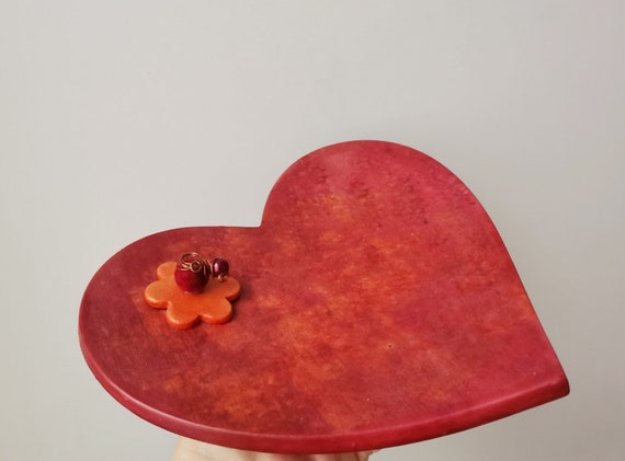 Red heart ceramic platter, earthernware ceramic plate with wire and beads decor, handpainted, boho, rustic heart plate, Valentine's gift