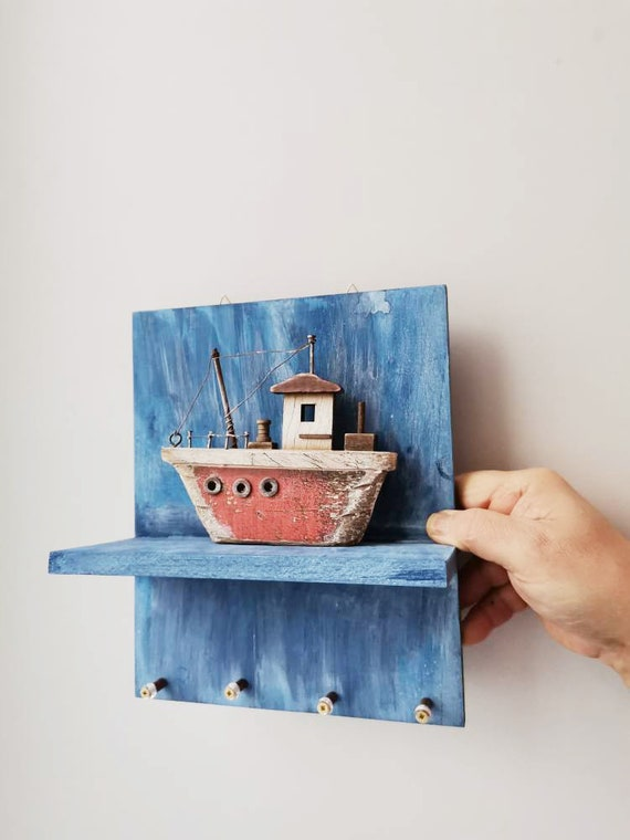 Boat key organiser, wooden shelf with wooden boat miniature diorama and key hangers, wooden boat miniature with key organiser