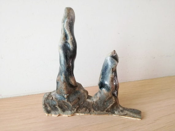 Ceramic ring holders, blue grey ring cones, handbuilt ring trees, unique ring holders, lager n smaller ring trees, abstract trees sculpture