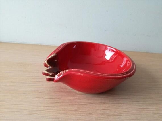 Red pomegranate bowl, ceramic pomegranate plate, red pomegranate ring dish, cute pomegranate plate, pomegranate tabelware