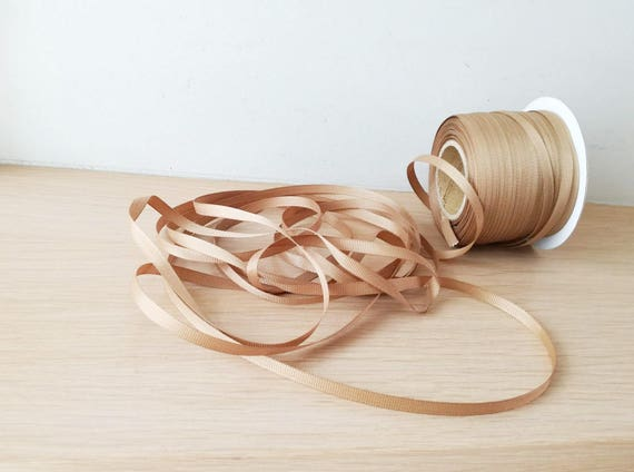 Beige grosgrain ribbon, light brown ribbon, thin, khaki brown, grosgrain trim, 10metres/10.95yds, gift wrapping and craft making trim