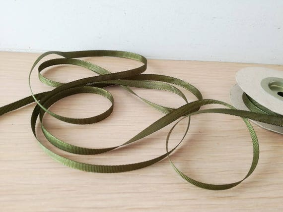 Green grosgrain ribbon, olive green ribbon, thin, dark olive green, grosgrain trim, 10metres/10.95yds, gift wrapping and craft making trim