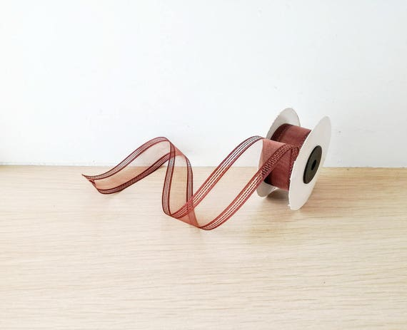 Clear brown ribbon, transparent organza ribbon with striped ends in chocolate brown, clear brown trim, brown ribbon supplies, 5 yards