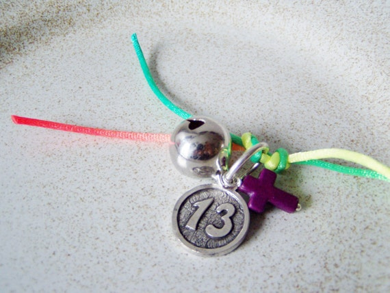 Lucky 13 key chain part, coin shaped charm with coral cross and metal bell