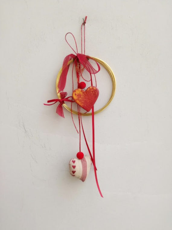 Two hearts wreath, brass wire wreath with ceramic and plushie hearts, red ribbons and cords, small hearts wreath, boho Valentine's wreath