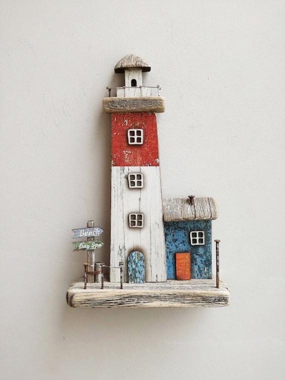 Decorative wooden lighthouse, rustic boho lighthouse, beach house decor lighthouse, vintage driftwood lighthouse, blue white red lighthouse