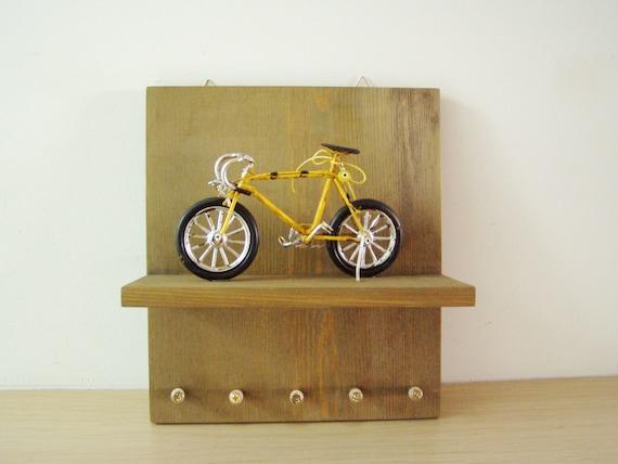 Yellow bicycle keyhanger, wooden shelf, wall, key organiser with yellow, racing bike miniature, bicycle wall decor and organiser
