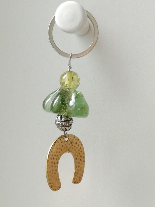Greek folk art men/'s accessory key ring brass horseshoe and hand blown glass beads oxidised horse shoe miniature Horseshoe keychain