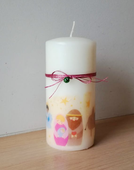 Christmas decoupaged candle, Xmas pillar candle, ivory pillar candle with nativity decoupage, Xmas decoupage candle, nativity candle
