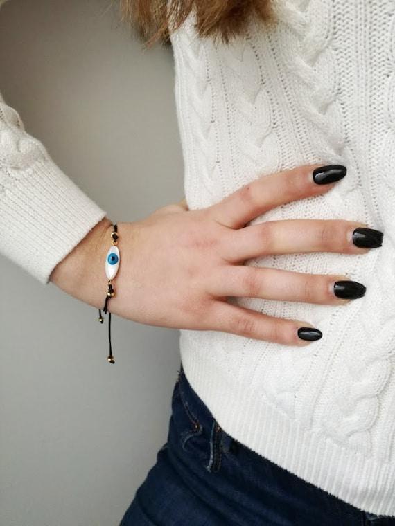 Blue eye bracelet, mother of pearl, oval blue eye on black corrd, blue eye macame bracelet, eye friendship bracelet, eye boho cuff