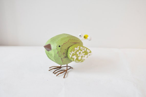 Vintage green wooden birdie, lime geen  wooden birdie of a chubby shape with wire legs, early nineties