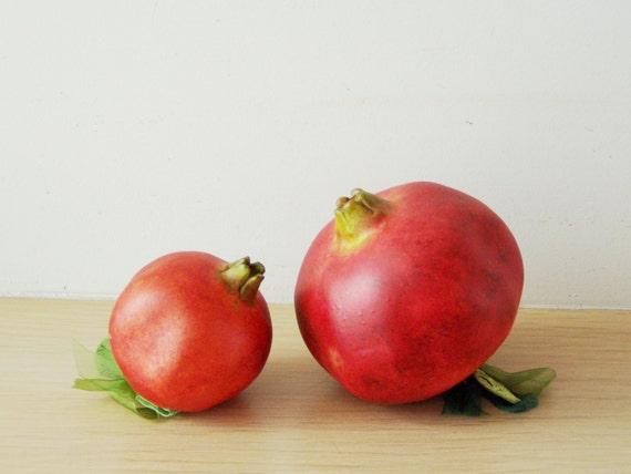 Red ceramic pomergranate, life size, green leaves red pomegranate, fall decor pomegranate, holidays decor red pomegranate